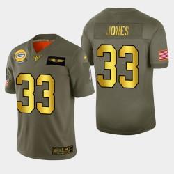 Green Bay Packers Aaron Jones 2019 Salut au service NFL 100 Jersey - métallique