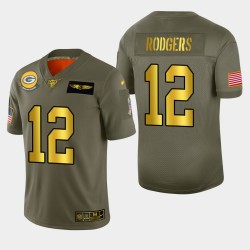 Green Bay Packers Hommes 12 Aaron Rodgers 2019 Salut au service Metallic NFL Jersey 100