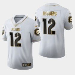 Green Bay Packers Hommes 12 Aaron Rodgers 100ème Saison Golden Edition Jersey - Blanc