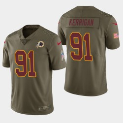 Hommes Redskins de Washington 91 Ryan Kerrigan Salut à Service Limited Jersey - Olive