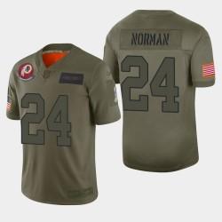 Washington Redskins hommes 24 Josh Norman 2019 Salut au service Camo Jersey limitée