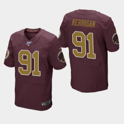 Redskins de Washington hommes 91 Ryan Kerrigan 100e saison Throwback Jersey - Bourgogne