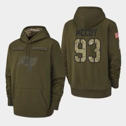 Bay Buccaneers de Tampa Hommes 93 Gerald McCoy 2018 Salut à Service Performance Sweat à capuche - Olive