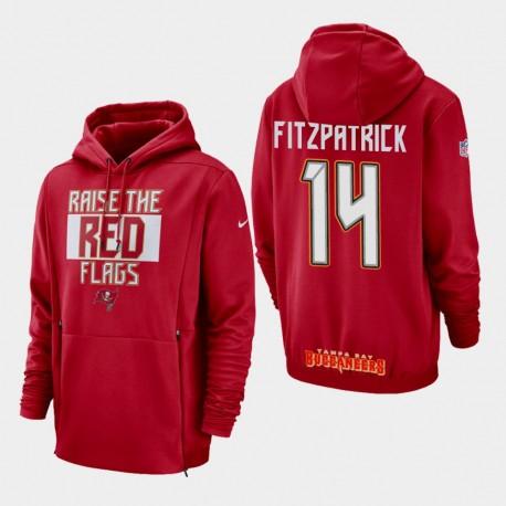 Tampa Bay Buccaneers 14 hommes Ryan Fitzpatrick Sideline Lockup Sweat à capuche - Rouge