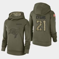 Bay Buccaneers de Tampa femmes 21 Justin Evans 2018 Salut à Service Performance Sweat à capuche - Olive