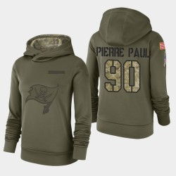 Bay Buccaneers de Tampa Femmes 90 Jason Pierre-Paul 2018 Salut à Service Performance Sweat à capuche - Olive