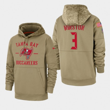 Tampa Bay Jameis Winston hommes Buccaneers 2019 Salut au service Sideline Therma Sweat à capuche - Tan