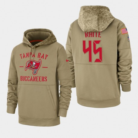 Bay Devin blanc Tampa hommes Buccaneers 2019 Salut au service Sideline Therma Sweat à capuche - Tan