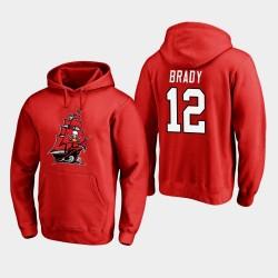 Bay Buccaneers de Tampa Hommes 12 Tom Brady 2020 Nouveau logo Hoodie - Rouge