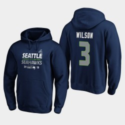 Seattle Seahawks Hommes Russell Wilson 2019 NFL Playoffs Bound Ville natale Checkdown Sweat à capuche - College Navy