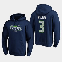 Seattle Seahawks Hommes Russell Wilson 2019 NFL Playoffs Bound Chip Tir Sweat à capuche - College Navy