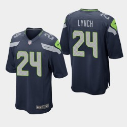 Hommes Seattle Seahawks 24 Marshawn Lynch jeu Jersey - College Navy