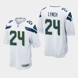 Hommes Seattle Seahawks 24 Marshawn Lynch jeu Jersey - Blanc
