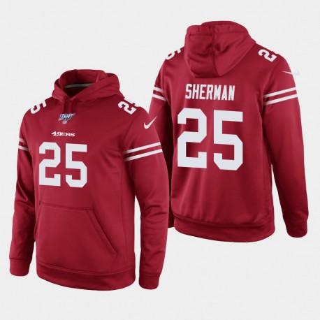 San Francisco 49ers 25 hommes Richard Sherman 100e saison jeu Hoodie - Scarlet