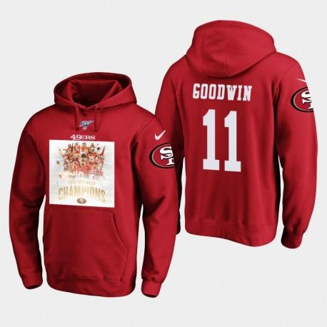 Marquise Goodwin 2019 NFC Pull Champions Ouest Veste à capuche Homme San Francisco - Scarlet
