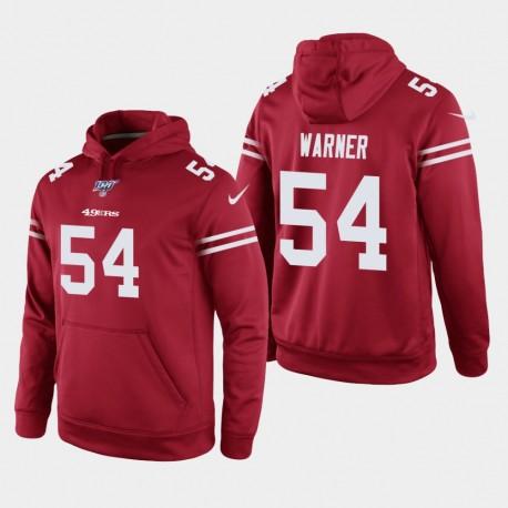 San Francisco 49ers 54 hommes Fred Warner 100e saison jeu Hoodie - Scarlet