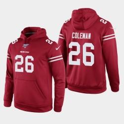 San Francisco 49ers 26 hommes Tevin Coleman 100ème saison jeu Hoodie - Scarlet