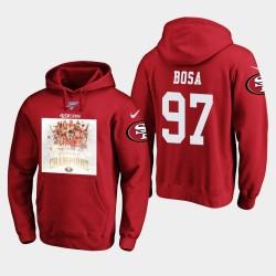 Hommes de San Francisco Nick Bosa 2019 NFC Ouest Champions Pull à capuche - Scarlet