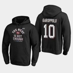 49ers Jimmy Garoppolo 2019 NFC Couverture Champions Division Ouest Deux Sweat à capuche - Noir
