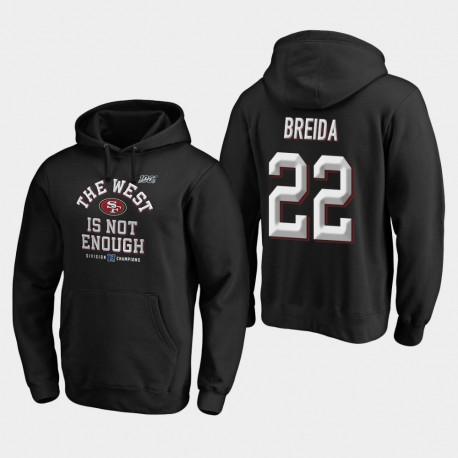 Hommes de San Francisco Matt Breida 2019 NFC Couverture Champions Division Ouest Deux Sweat à capuche - Noir