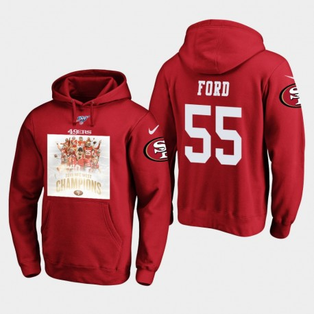 49ers 2019 NFC Ouest Champions Dee Ford Sweat à capuche - Scarlet