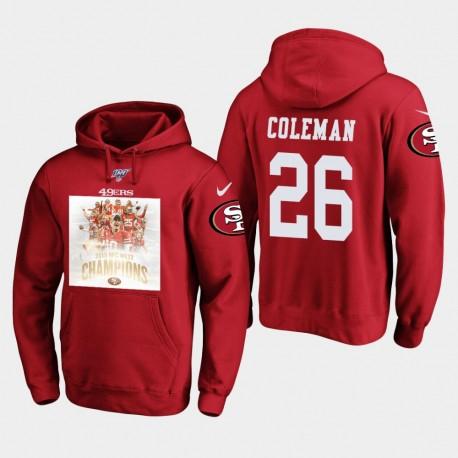 Hommes de San Francisco Tevin Coleman 2019 NFC Ouest Champions Pull à capuche - Scarlet