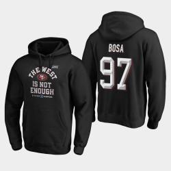 49ers Nick Bosa 2019 NFC Couverture Champions Division Ouest Deux Sweat à capuche - Noir