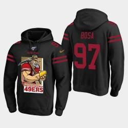 San Francisco 49ers 97 hommes Nick Bosa Cartoon mascotte Sam Sourdough Sweat à capuche - Noir