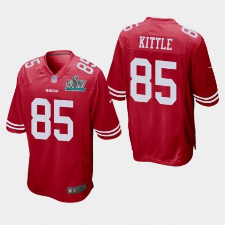 San Francisco 49ers hommes 85 George Kittle Super Bowl LIV jeu Jersey - Scarlet