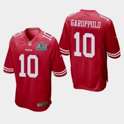 San Francisco 49ers 10 hommes Jimmy Garoppolo Super Bowl LIV jeu Jersey - Scarlet