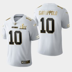 San Francisco 49ers 10 hommes Jimmy Garoppolo Super Bowl LIV Golden Edition Jersey - Blanc