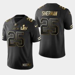 San Francisco 49ers 25 hommes Richard Sherman Super Bowl LIV Golden Edition Jersey - Noir