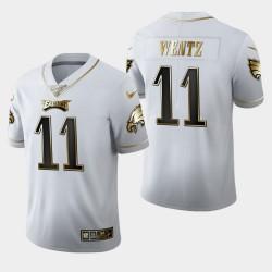 Eagles de Philadelphie Hommes 11 Carson Wentz 100ème saison Golden Edition Jersey - Blanc