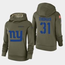 Les femmes de New York Giants 31 Michael Thomas 2018 Salut à Service Performance Sweat à capuche - Olive