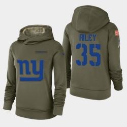 Les femmes de New York Giants 35 Curtis Riley 2018 Salut à Service Performance Sweat à capuche - Olive