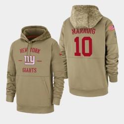 New York Giants Eli Manning 10 2019 Salut au service Sideline Therma à capuche pour homme - Tan