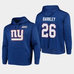 New York Giants 26 Saquon Barkley 100ème Saison Logo primaire Sweat à capuche pour homme - royal