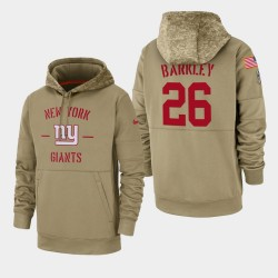 New-York Giants 26 hommes Saquon Barkley 2019 Salut au service Sideline Therma Hoodie - Tan
