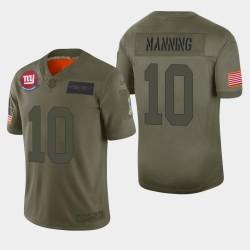 New-York Giants 10 hommes Eli Manning 2019 Salut au service Camo Jersey limitée