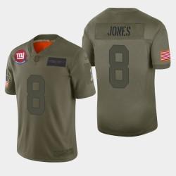 New York, des hommes Giants 8 Daniel Jones 2019 Salut au service Camo Jersey limitée