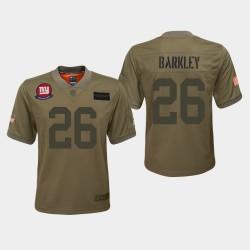 Jeunesse New York Giants 26 Saquon Barkley 2019 Salut au service Jersey - Camo