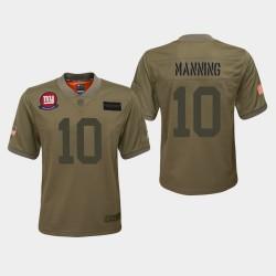 Giants Eli Manning jeunes 2019 Salut au service Jersey - Camo