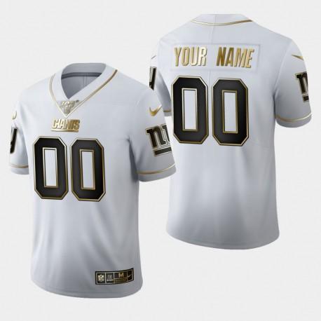 Hommes Giants de New York 00 Personnalisé 100 Saison Golden Edition Jersey - Blanc