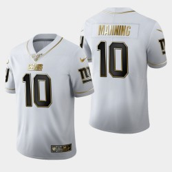New York Giants Eli Manning 10 100 Saison Golden Edition Jersey Hommes - Blanc
