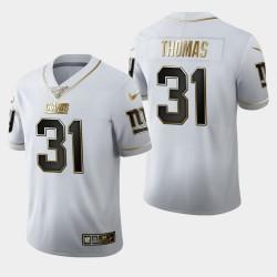 New York Giants 31 Michael Thomas 100ème Saison Golden Edition Maillot Hommes - Blanc