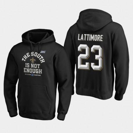 Hommes New Orleans Saints 23 Marshon Lattimore 2019 NFC Couverture Division Sud Champions Deux Sweat à capuche - Noir