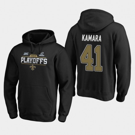 Hommes New Orleans Saints 41 Alvin Kamara 2019 NFL Playoffs Bound Chip Tir Sweat à capuche - Noir