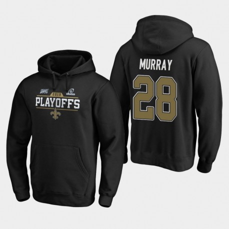 Hommes New Orleans Saints 28 Latavius Murray 2019 NFL Playoffs Bound Chip Tir Sweat à capuche - Noir