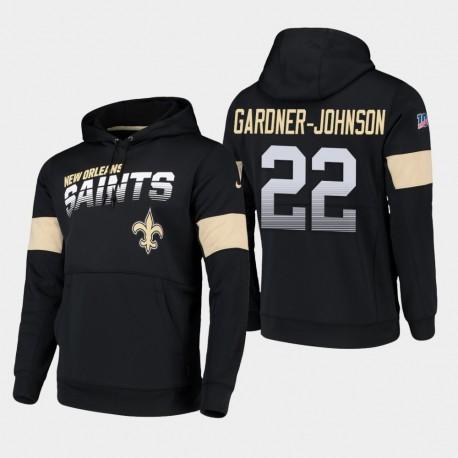 Hommes New Orleans Saints 22 Chauncey Gardner-Johnson 100e saison Sideline équipe Logo Sweat à capuche - Noir