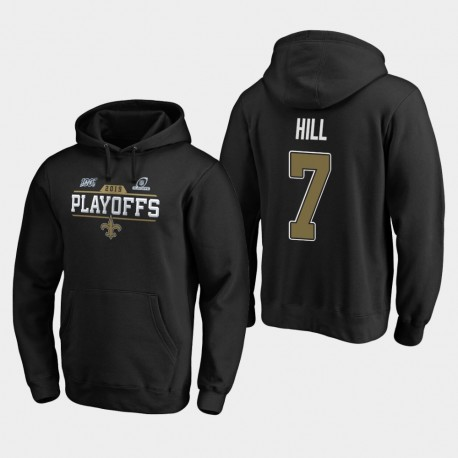 Hommes New Orleans Saints 7 Taysom Hill 2019 NFL Playoffs Bound Chip Tir Sweat à capuche - Noir